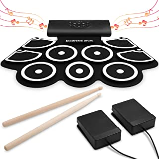 VEEtop Electronic Drum Set [Bluetooth Upgraded Version], Thickened Roll Up Electric Drum Practice Pad, Built in Speakers, Rechargeable Battery, MIDI, Great Christmas Holiday Gift for Kids, Beginner