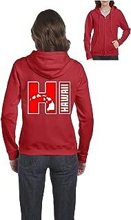 Hawaii Aloha State Islands Maui Kauai Women's Full-Zip Hooded Sweatshirt (XLR) Red