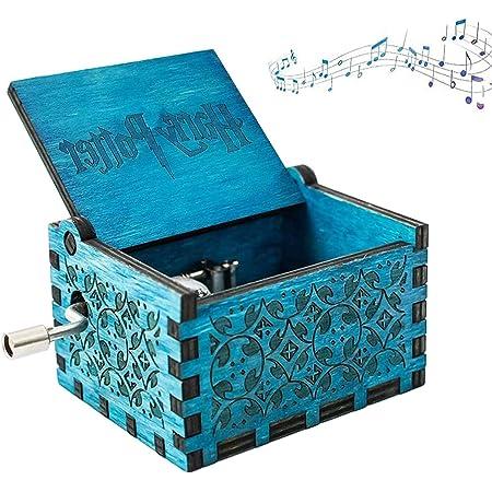 NO Caja de Música de Manivela de Madera,Caja de Música de Madera Grabada Hecha a Mano Caja Musical Tallada Antigüedad Familiares, Amantes, Niños 6.4X5.2X4.2cm(Azul)
