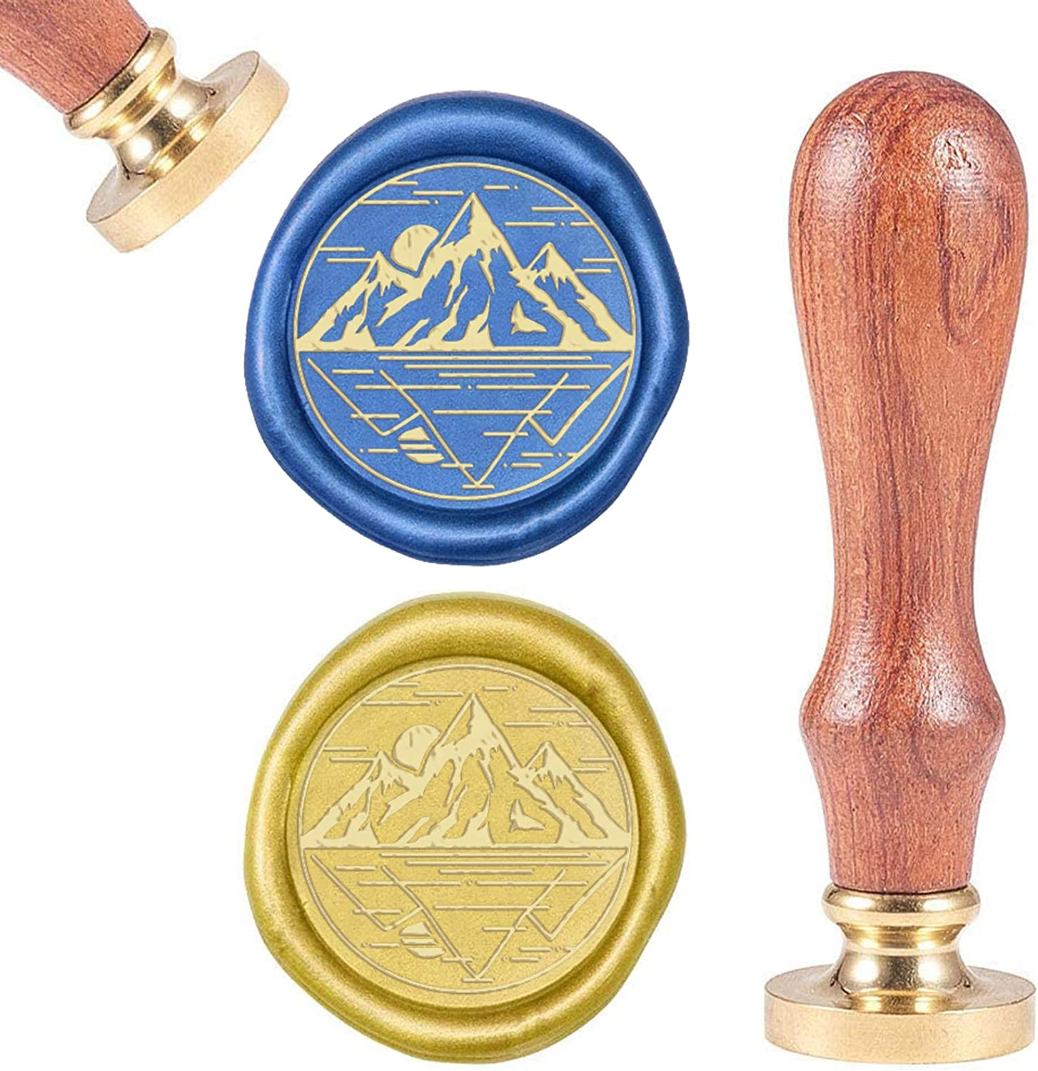 Vintage Sealing Wax Stamps Retro Wood Stamp Wax Seal 25mm Removable Brass Seal Wood Handle for Envelopes Invitations Wedding Embellishment Bottle Decoration CRASPIRE Wax Seal Stamp Forest