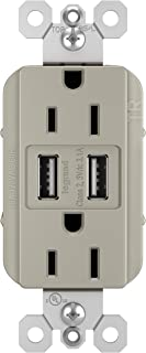 Legrand - Pass & Seymour radiant TM826USBNICCV4 USB Charger Outlets USB 2.0 and 3.0 compatible devices with Duplex Tamper-Resistant 15A Wall Power Outlets, Phone Charger, Brushed Nickel Finish