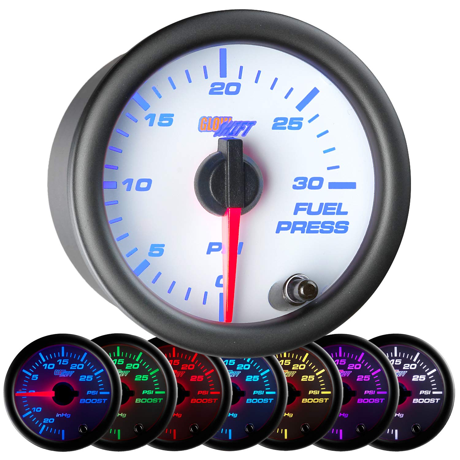 Sales for sale GlowShift White 7 Color 30 PSI Fuel Gauge Pressure - Include Kit Outlet SALE