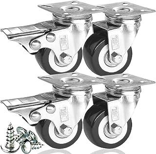 comprar comparacion DSL - Juego de 4 ruedas giratorias de poliuretano resistente, doble rodamiento, 50 mm, de goma, con freno giratorio, 240 k...