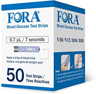 FORA V10 V12 D10 D20 PremiumV12 (Not Compatible with Premium V10) Blood Glucose Test Strips - 50 Count