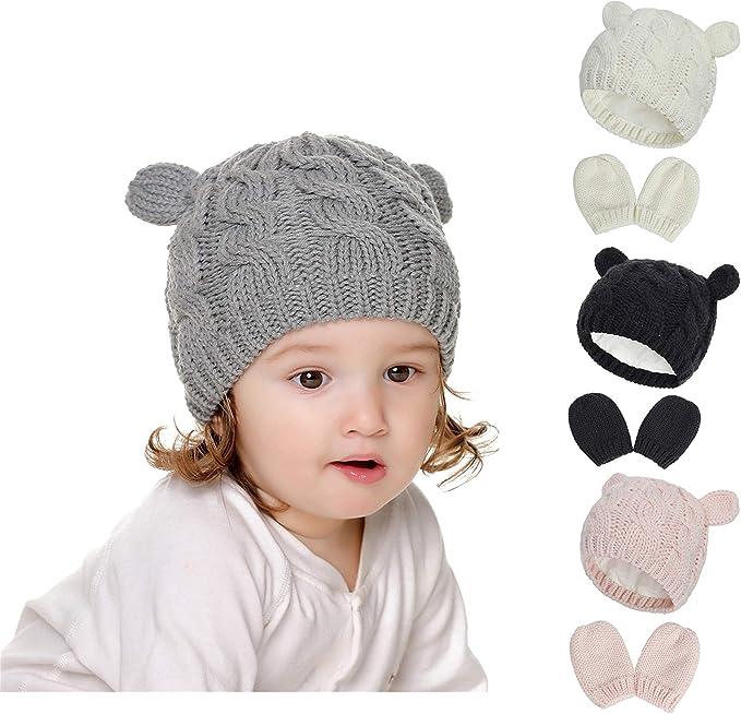 Baby Girl Beanie Baby Hat and Mitten Set Knit Baby Winter Hat Mittens for Newborn Boy Baby Girl Beanie Hats