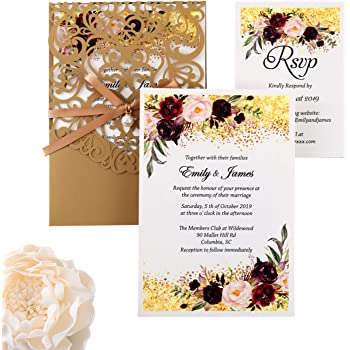 DreamBuilt 5X7.2 Inch 50PCS Blank Laser Cut Gold Wedding Invitations With Rsvp Cards And Envelopes And Ribbon Belly Band Pearl Embellishments Wedding Invitation Cards For Wedding Invite