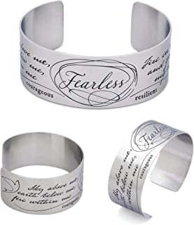Vera Viva Inspirational Fearless Adjustable Cuff Bracelets | Made of Stainless Steel | Open Design Bands Fits Most Wrist Sizes | Color Silver | Cuff Size 6.5 Inches