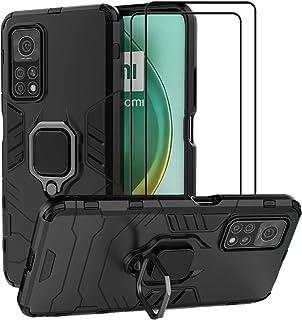 EasyLifeGo for Xiaomi Mi 10T Pro 5G / Xiaomi Mi 10T 5G Kickstand Case with Tempered Glass Screen Protector [2 pieces], Hyb...