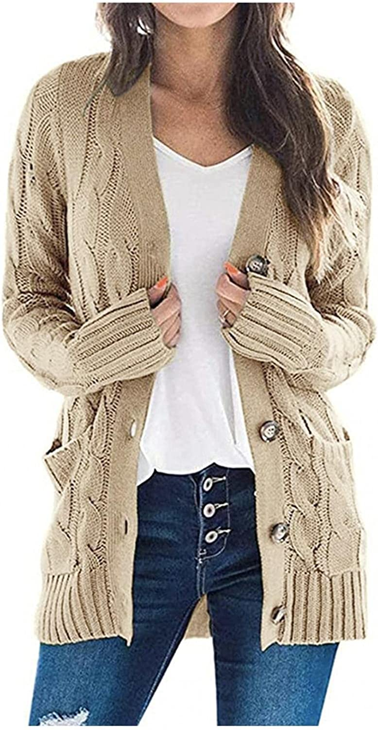 BAGELISE Plus Size Cardigan Sweaters for Women, Open Front Coat Slouchy Long Sleeve Chunky Knit Outwear with Pocket