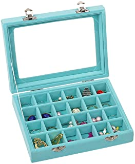 Ivosmart Velvet Glass Jewelry Ring Display Organiser Box Tray Holder Earrings Storage Case (Light Blue)