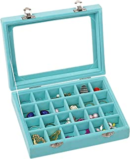 Ivosmart Velvet Glass Jewelry Ring Display Organiser Box Tray Holder Earrings Storage Case (Light Blue)