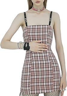 Women's Trendy Plaid Dress Adjustable Straps Drawstring...