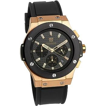 [HYAKUICHI 101] 腕時計 ウォッチ 100m防水 ラバーベルト カーボン文字盤 ブラック×ピンクゴールド メンズ