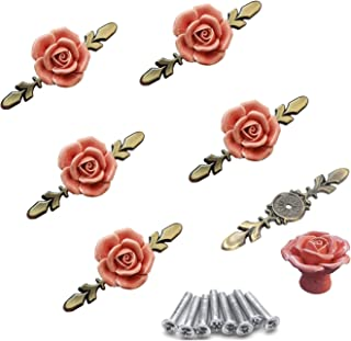 Ymaiss 6Pcs Elegant Pink Rose with Backplate Pulls Flower Ceramic Cabinet Knobs Cupboard Drawer Pull Handles + Scre