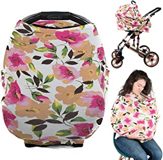 Ermis Nursing Breastfeeding Cover Scarf - Baby Car Seat Canopy, Shopping Cart, Stroller, Carseat Covers for Girls and Boys - Best Multi Use Infinity Stretchy Shawl Lovely Flowers
