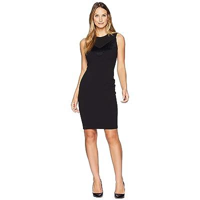 Calvin Klein Fringe Detail At Bodice Sheath Dress CD8C14QL (Black) Women