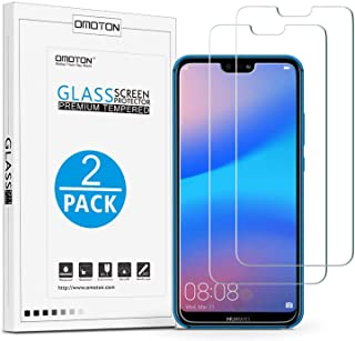 OMOTON Huawei P20 Lite Tempered Glass Screen Protector- [9H Hardness] [Crystal Clear] [Bubble Free] [2 Pack]