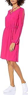 فستان الفلاحي المتشابك ذو الفتحة الطويلة للنساء من Star Vixen بخصر مرن وفتحة المفتاح من الأمام