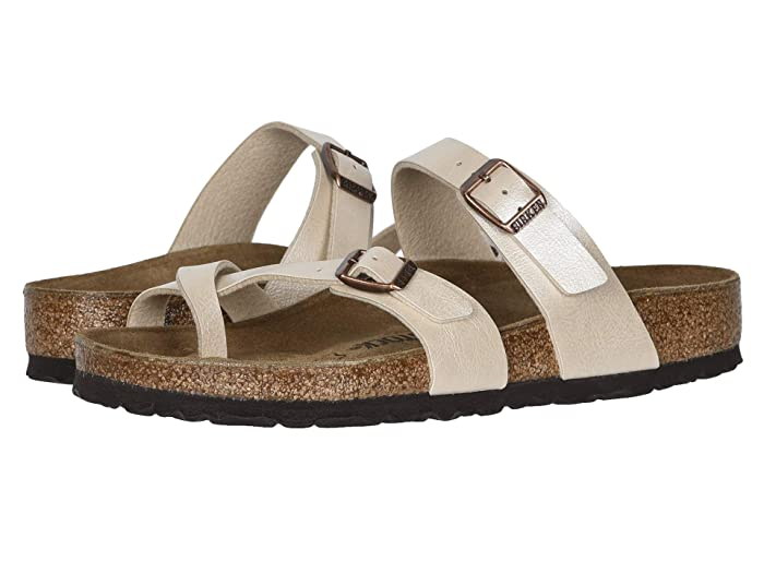 Birkenstock Silver Leather Sandals , Size 36, US womens ,5 ,Shoes, thong sandals