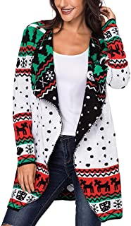 Happy Sailed Women Christmas Print Knit Open Front Cardigan Sweater Coat S-XXL