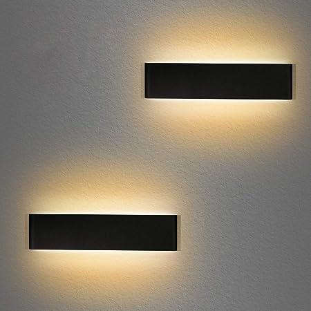 Applique Murale Interieur LED 36CM 2 Pack Lampe Murale 3000K Blanc Chaud Moderne Up Down Appliques Murales 12W Luminaire Mural pour Chambre Salon Escalier Couloir