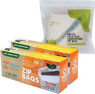 Compostable Zip Bags, 100 Count Quart, 2 Pack   Freezer, Sandwich, Food Storage & More   Resealable Lock   Biodegradable R...
