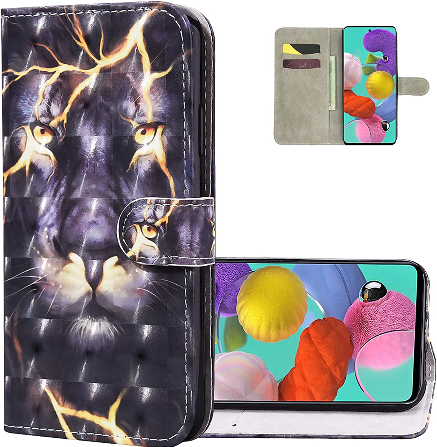 LEMAXELERS Samsung A42 5G Wallet Case 3D Creative Pattern Design Premium Soft PU Leather Flip Cover Case with Stand Magnetic Card Holder Shockproof Case for Samsung Galaxy A42 5G Thunder Lion CYY