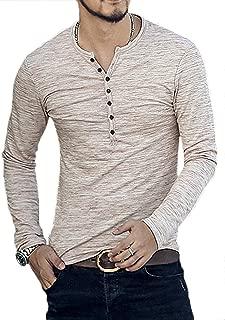 Mens Casual Slim Fit Henley Shirt Long Sleeve Basic T Shirt