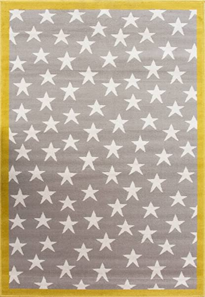 100 Stars Colourful Kids Grey Ochre Designer Childrens Floor Play Area Rug Mat 3 11 X 5 7