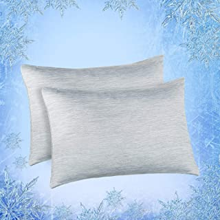 """Best Elegear Cooling Pillowcases for Night Sweats and Hot Flashes, Japanese Q-Max 0.4 Cooling Fiber, Breathable Soft Both Sides Pillow Case with Hidden Zipper, Set of 2, Gray (Standard (20"""" x 26"""")) Review"""