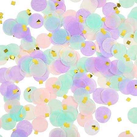 confetti 1 inch round tissue paper table confetti unicorn / mermaid party decoration, 10-15grms- Multi color