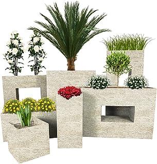 Pflanzwerk® Jardinera Fibra de Vidrio Cube Antiguo Arena