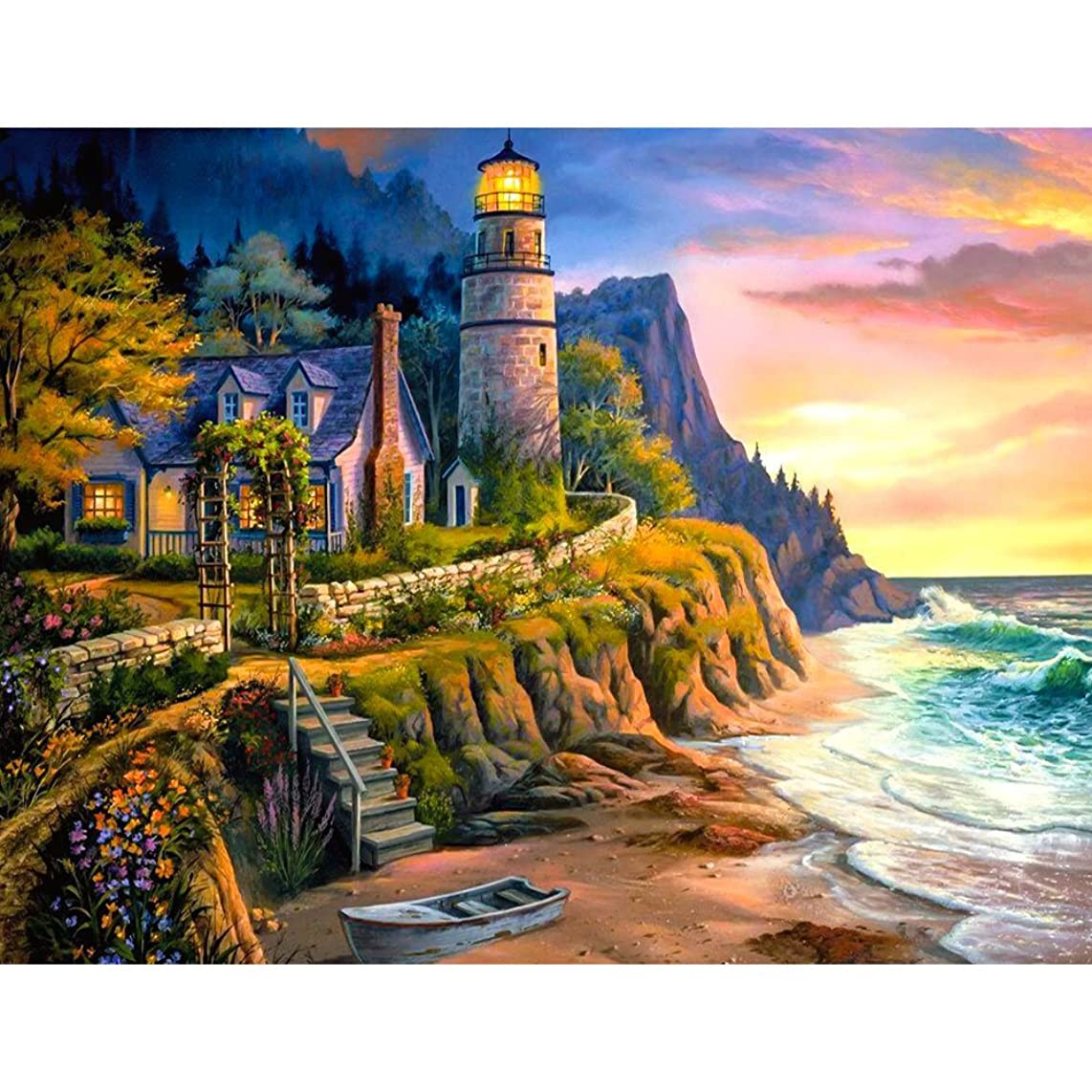 UPMALL DIY 5D Diamond Painting by Number Kits, Full Drill Crystal Rhinestone Embroidery Pictures Arts Craft for Home Wall Decoration Seaside Castle 15.75×11.81 Inches
