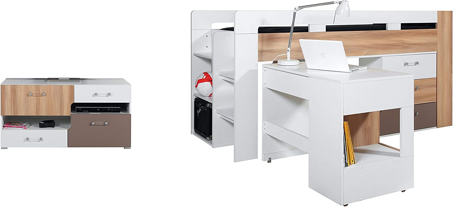 Medium High Sleeper Bed Composition  BLOG System 19  (mattress not included) with Desk and TV Table