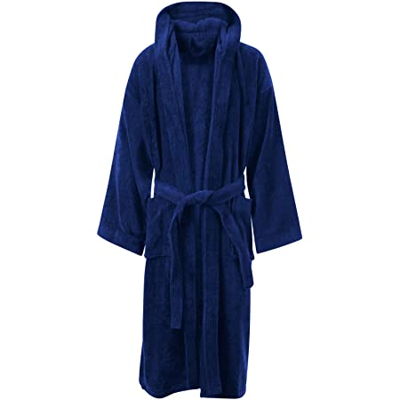 MyShoeStore Unisex 100% Luxury Egyptian Cotton Super Soft Velour Towelling Bath Robe Dressing Gowns Bathrobe Terry Towel Housecoat Nightwear Lounge Wears with Pockets and Belt