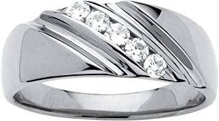 Men's Platinum over Sterling Silver Round Cubic Zirconia Diagonal Channel Wedding Band Ring