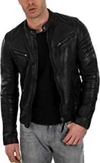 Laverapelle Mens Genuine Lambskin Leather Jacket (Black, Racer Jacket) - 1501025