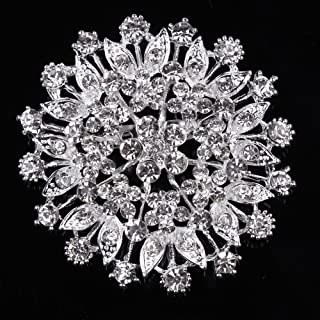 USIX Pack of 3 Floriated Round Rhinestone Crystal Brooch Pin for Dress, Suit, Sweater Embellishments, DIY Wedding Bouquet Cake Dress Corsage Boutonniere Decoration(105-Crystalx3)