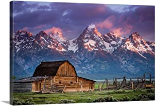 "Sun Rises Over Mormon Barn, Grand Teton National Park, Wyoming Canvas Wall Art Print, 36""x24""x1.25"""