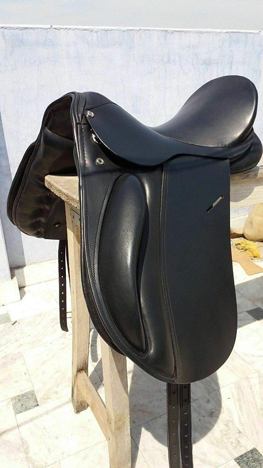New Premium Leather Changeable Gullet Dressage All Purpose English Horse Racing Tack & Saddle (17 Inch, BlackES517)