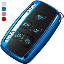 Uxinuo Compatible with Range Rover Key Fob Cover Case Premium Soft TPU Key Fob Case for Defender Discovery Sport LR4 Range Rover Sport and Jaguar XF XJ XJL XE F-PACE Jaguar 5-Buttons Blue