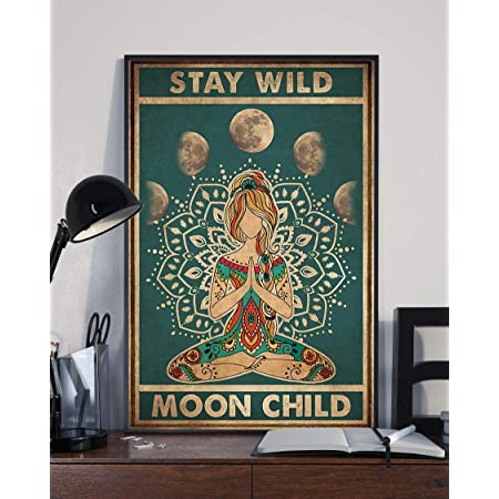 Girl And Moon Stay Wild Moon Child Poster Print 24x36 Inches Wall Art Vintage