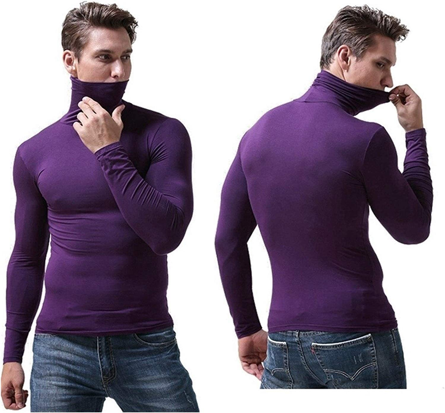QWERBAM Men Winter Underwear Men Thermo Underwear Winter Thermal Underwear Male Winter Warm Shirt (Color : Light Gray, Size : Large)