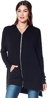 Women's Casual Light Oversized Zip Hoodie Sweatshirt Jacket w/Side Slits