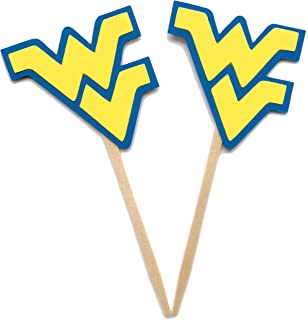 West Virginia Cupcake Toppers Set of 12/ University Happy Graduation Party Decoration College Tailgate Tailgating Football Mountaineers WVU Party Decorations Big 10 Baby Shower