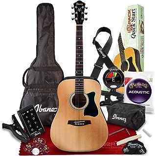 Ibanez IJV50 JAMPACK 6 String Acoustic Guitar Pack, Natural with Tuner + Picks + Accessory Bundle