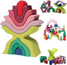 Grimm's Little Flower Wooden Puzzle Stacker - Large Elements Nesting/Stacking Sculptural Blocks
