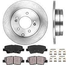 CRK12156 REAR 283 mm Premium OE 5 Lug [2] Brake Disc Rotors + [4] Ceramic Brake Pads + Clips