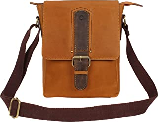 Leather Sling Bag for Men Women Size 8.5 * 10.5 * 3 Inch Brown Cross Body For Carrying Office Work Document Hands Free Tra...