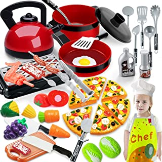 Scientoy Kitchen Toys for Pretend Play, 38 Pcs Toy Cooking Set with Cooking Utensils, Play Food, Chef Coat& Hat, Pizza, Po...